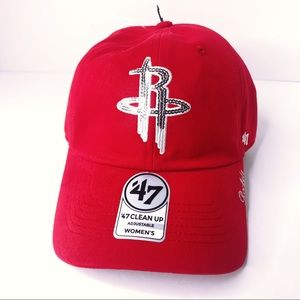 NBA Houston Rockets Sequin Red Hat Cap '47 Cleanup